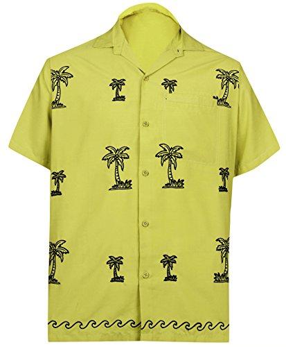 LA LEELA männer Hawaiihemd Kurzarm Button Down Kragen Fronttasche Beach Strand Hemd Manner Urlaub Casual Herren Aloha Senf_23 1XL Viskose einfach
