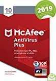 Mcafee Antivirus Plus 2019 | 10 Dispositivi | Abbonamento di 1 Anno|Pc/Mac/Smartphone/Tablet