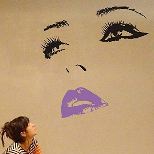 haotong11 DIY Vinyl Schöne Cheryl Cole Gesicht Augen Und Lippen Wandkunst Aufkleber Malerei Room Home Decoration 60 * 58 cm -