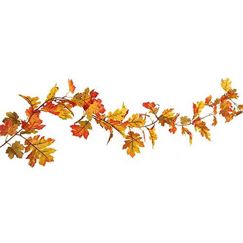 5 m LED Ahornblatt Dekoration Rattan Halloween 1.5M LED Beleuchtet Herbst Herbst Kürbis Ahorn Blätter Garland Decor Warmweiß Lichterketten für Weihnachten ()