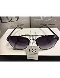 DG Eyewear ® Men's Designer Sunglasses - Full UV400 Protection - Women Fashion Black Avia tor Sunglasses - Model : DG Casablanca With FREE Pouch