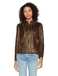 Fort Collins Womens Cotton Jacket (17822 AZ-Black & Brown_XXL)