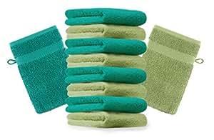 10er Pack Waschhandschuhe Waschlappen Premium Größe 16x21 cm Farbe Apfel Grün & Smaragd Grün Kordelaufhänger 100% Baumwolle