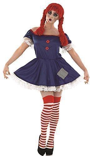 Puppe Halloween Kostüm Kleid Outfit UK 8-18 - Blau, 12-14 (Rag-kostüm)