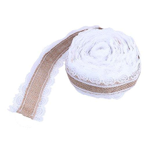 Westeng Natürliche Sackleinen Rolle mit Weiß Spitze Jute Stoff Satin Ribbons DIY für Hochzeit Party und Haus Deko 2 Meter/Roll -