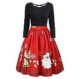 Riou Weihnachten Kleid Damen Abendkleid Elegant für Party Gedruckt Satin sexy große größen Langarm Cocktailkleid Knielang Rockabilly Kleider (3XL, Langarm Schwarz)