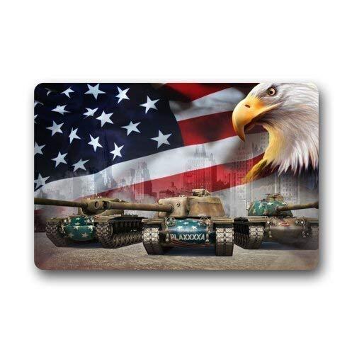 ferfgrg Military World of T57 Capital Tanks and Eagles and USA Flag Doormat - Main Battle Tanks, Non-Woven Fabric Top, Outdoor Doormat Custom 23.6 x 15.7 - Custom Tank-top