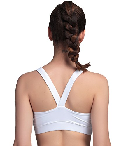 Femme Soutien Gorge de Yoga Sports Workout Fitness V back Blanc