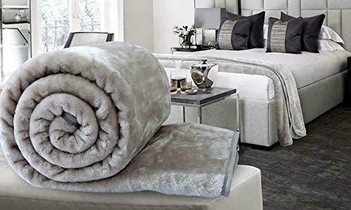 Knight's Bridge® Kunstfell-Decke, Überwurf, für Sofa, Bett, luxuriös, weich, Einzel-, Doppel- und King-Size-Größe, warm, groß, Silber, 200 x 240 cm (Warme King-size-decke)