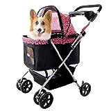 Kaysa-TS Haustiersportwagen - Welpe, Premium Hund oder Katze Deluxe Haustierwagen | Einfach zu Falten Reise Haustier Jogger Max. 25 kg Laden, rosa