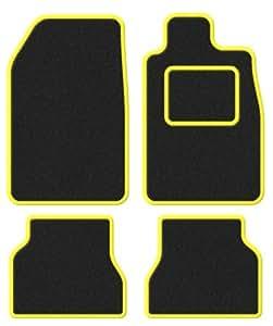 FORD CAPRI MK1–69–74–Super en velours noir/bordure jaune tapis de sol de voiture