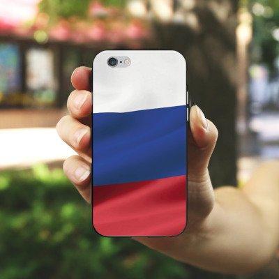 Apple iPhone 6s Hülle Premium Case Cover Russland Flagge Russia Silikon Case schwarz / weiß