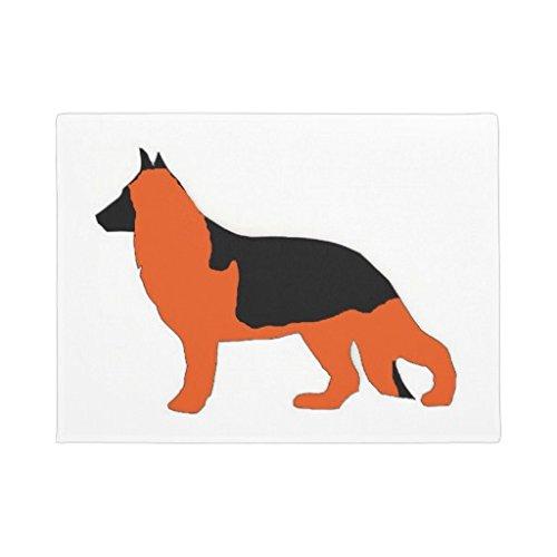 Deutscher Schäferhund Fußmatte Gummi Home Matte Teppich für Wohnzimmer 40,6x 61cm schwarz und rot vorne Tür Fußmatte