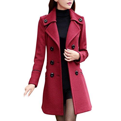 Wool Blend Trench (ROPALIA Damen Klassischen Doppelten Breasted Trenchcoat Lange Jacke Warm Mantel Outwear)
