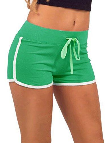 Femme Taille Élastique Cordon Tube Shorts De Course Vert
