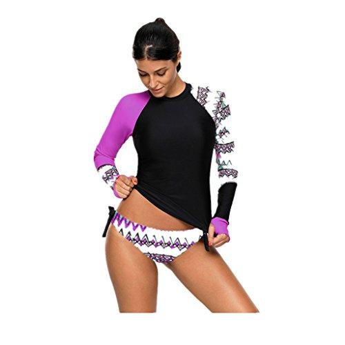 Frauen Badeanzug Bademode Langarm Zwei Stück Monokinis Swimwear Damen Tankini Sets Athletic Swim Shirt Swimsuit Printing Strandmode Große Größen