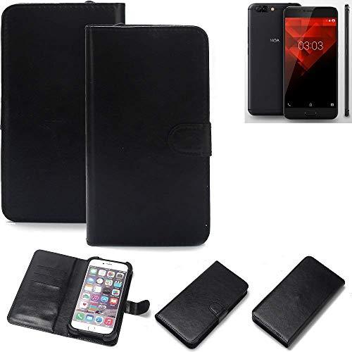 K-S-Trade® 360° Wallet Case Handyhülle Für NOA H10le Schutz Hülle Smartphone Flip Cover Flipstyle Tasche Schutzhülle Flipcover Slim Bumper Schwarz, 1x