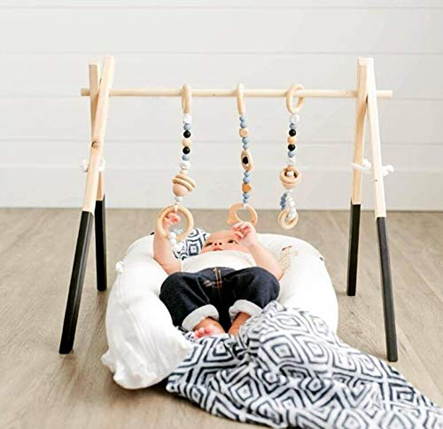 Handmade Wooden Baby Play Gym with Hangers and Animal Pendant Rattles Teether, Sensory Activity Toy Game Gym for Baby + 3Pcs Pendants Size 60 * 56 * 40cm Black