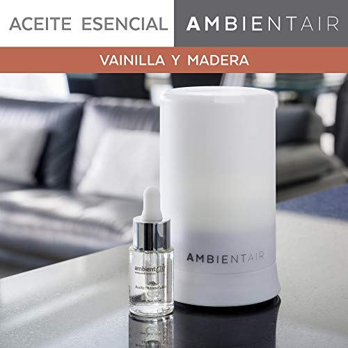 Ambientair. Aceite perfumado hidrosoluble 15ml. Aceite hidrosoluble Vainilla y Madera para humidificador...