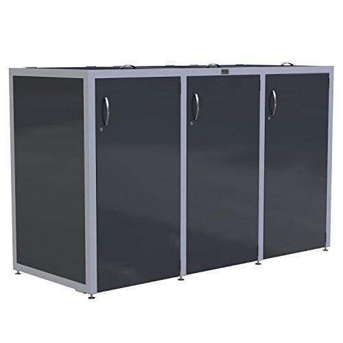 Metzler Exclusiv 3er Mülltonnenbox aus Edelstahl V2A rostfrei Müllbox Abfalltonnen Aufbewahrung...