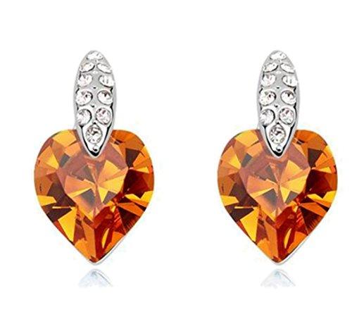 Sojewe Damen Herz Bolzen Ohrring Gelb Swarovski Elements Kristall Weiß Vergoldet Mode Accessoires Geschenk für Party - Kristall-herz-bolzen-ohrringe