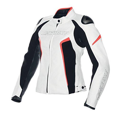 Dainese Racing D1 Damen Frauen Leder Motorradjacke, Weiß/Schwarz/Rot Leuchtend, Größe 46