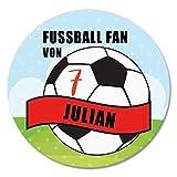Polarkind Button Anstecker Fussball Fan mit Wunschname Trikotnummer handmade 59mm Fussballer Namensschild individualisierbar Mitbringsel Geschenk
