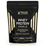 Whey Protein Pulver 900 g für Eiweiß-Shakes Molkenprotein-Konzentrat + Isolat mit BCAA - Qualität aus Deutschland - ohne Zusatzstoffe - für Kraftsport, Bodybuilding, Fitness (1 Beutel Vanille)