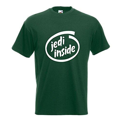 KIWISTAR - Jedi inside T-Shirt in 15 verschiedenen Farben - Herren Funshirt bedruckt Design Sprüche Spruch Motive Oberteil Baumwolle Print Größe S M L XL XXL Flaschengruen