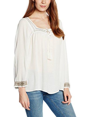 VERO MODA Damen VMCLAUDIA 7/8 TOP Langarmshirt, Weiß (Snow White Detail:EMB. IN Color Falcon), 38 (Herstellergröße: M) - Forever Juniors T-shirt