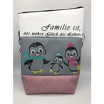 Handtasche Pinguin Familie 3 Tasche Foldover Schultertasche