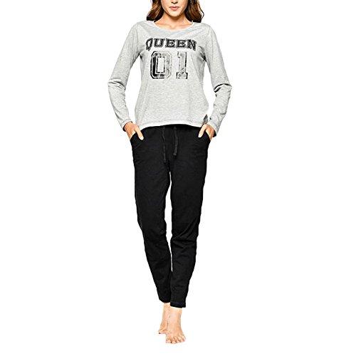 Juleya Familie passende Pyjamas Langarm Top & Lange Hosen Hose Nachtwäsche Größe Queen M