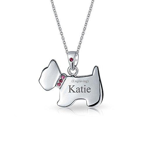 Gravierbaren Rosa CZ Halsband Westie Scottie Terrier Hund Anhänger Mit Halskette Für Damen Sterling Silber -