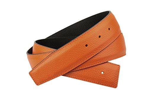 Erdi Ünver Orange Wendegürtel in echt Leder für Herren & Damen 4 cm Breiter Gürtel (105 cm)
