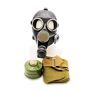 OldShop Gas Mask REPLICA Gp-7 Russian USSR Military Rubber With All Equipment: Mask, Bag & Filters Color: Black | Size: S (1Y)