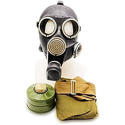 Oldshop RÉPLIQUE Masque GP-7 Caoutchouc Armée Russe avec Équipement Complet: Masque, Sac, Filtres, Petites Membranes Couleur: Noir | Taille: M