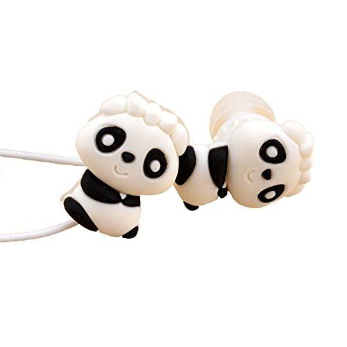 Qearfun in-Ear Wired 3,5 mm 3D Cute Cartoon Tier Panda Bear Kopfhörer/Ohrstöpsel/Kopfhörer mit Mikrofon Freisprecheinrichtung für Apple, Samsung, HTC, Android Smartphones - Cd-player Cute