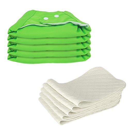 5 Stück Wiederverwendbare Waschbare Verstellbar Babywindeln Baby Windelhose Baby-Tuch-Windel Weicher Stoff, Größe Verstellbar (Grün)