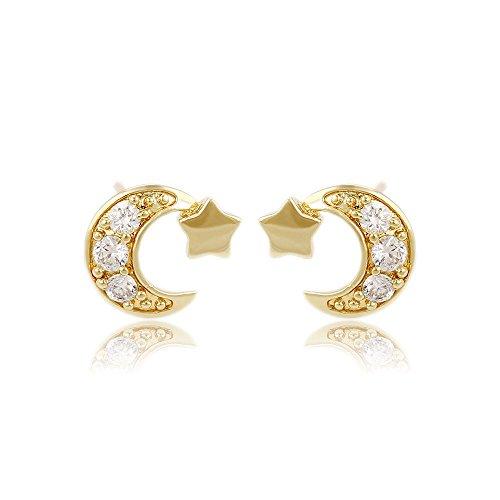 XUPING Elegante 14 ct Gold Farbe Halbmond Fünf Punkte Stern Mini Cubic Zirkonia Ohrstecker Ohrringe für Frauen Mädchen