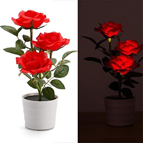 TianranRT Solar Rose Blume Beleuchtung LED Künstlich Rose Topf Blume Bonsai LED Lampe (Rot)