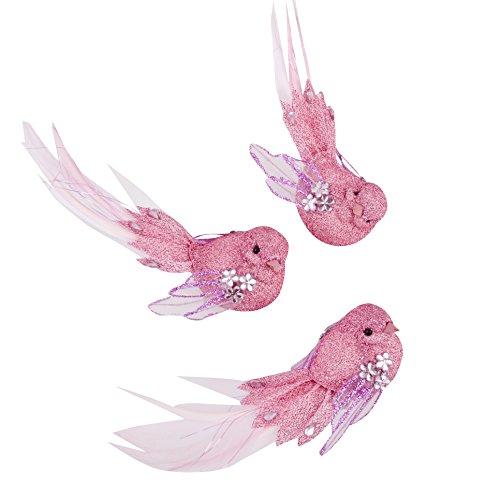 Dadeldo Vogel 3er Set Glitter Xmas Design Clip Deko Baumschmuck Weihnachten (4x15x5cm, Pink)