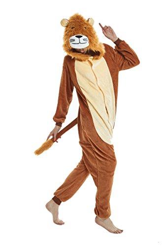 Yuson Mädchen Winter Flanell Einhorn Onesie Pyjamas Erwachsene Unisex Einteiler Cartoon Tier Kostüm Neuheit Weihnachten Cosplay Pyjamas (S: passend für 147cm-157cm, - Löwe Kostüm Männer