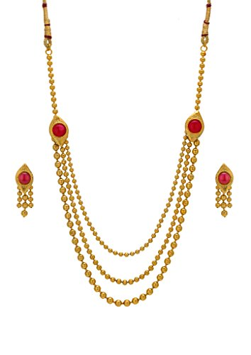 Bindhani Traditional Gold Plated Multistrand Long Rani Haar Necklace Earring Jewellery Set For Women  available at amazon for Rs.425