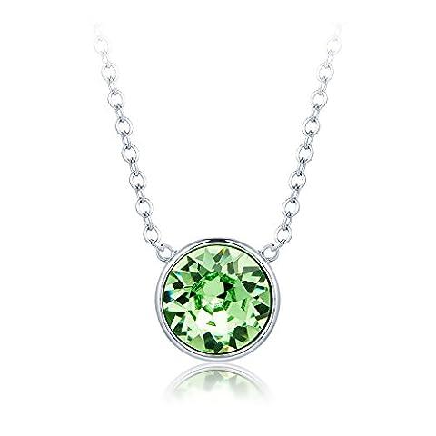 MYJS Bella Drop Necklace Rhodium Plated with Peridot Swarovski Crystals, Birthstone Pendant Gift 16+2