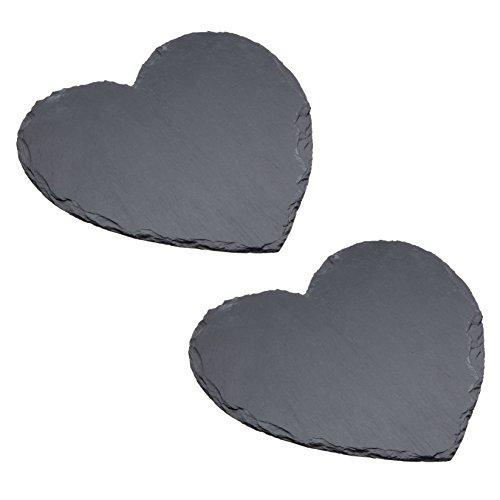 Kitchencraft Masterclass Artesà piatto da portata a forma di cuore, colore: grigio, 25cm, set di 2