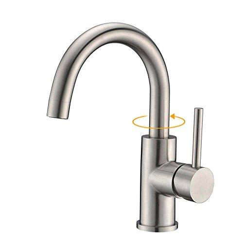 CREA Multifunktionaler Küchenarmatur Wasserhahn Bad Mischbatterie mit der heißen und kalten Wasser Spültischarmatur für Küche und Badezimmer Gebürsteter Edelstah
