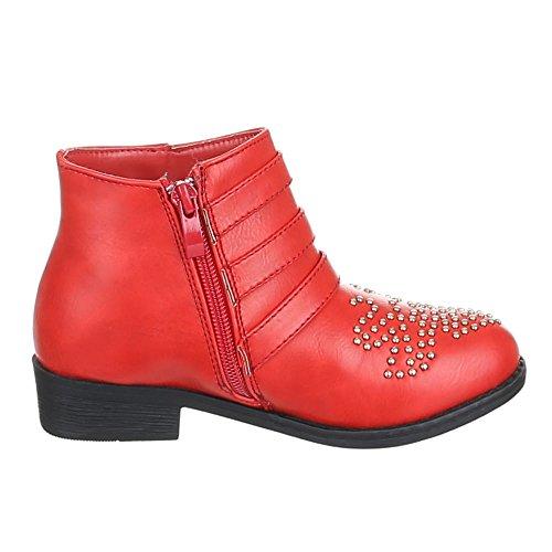 Enfants chaussures bottines masser 7031–7 rivets bottes fille Rouge - Rot 7031-7
