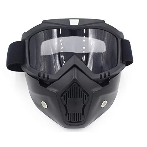 Romdink Motorrad-Maske und Schutzbrillen, Motorrad-Gesichtsmaske Abnehmbare Helm-Schutzbrille-Maske Schützen Polsterung Helm Sonnenbrille UV Straßenreiten Racing Open Face Helm Mundfilter