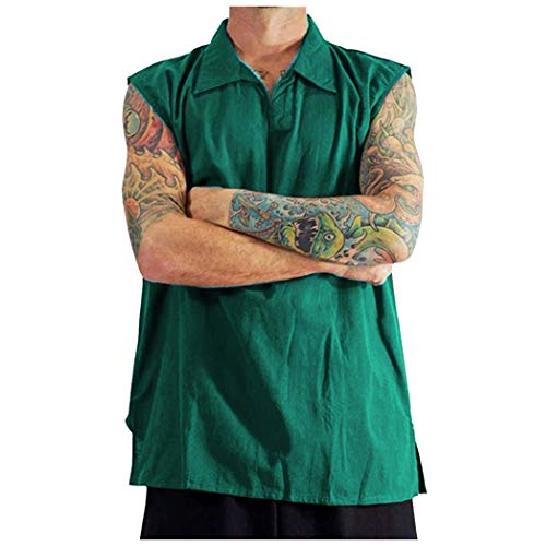 Crazboy Cooles und dünnes atmungsaktives Herrenhemd mit Kragen zum Aufhängen aus gefärbter Baumwolle mit Farbverlauf(X-Large,Grün-B)