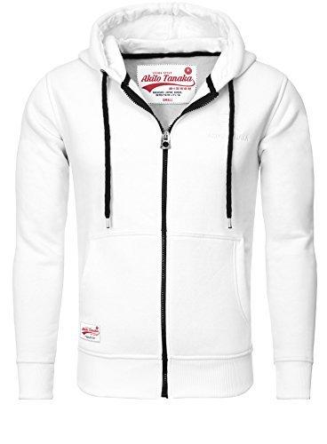 Akito Tanaka Herren Sweatjacke Jacke Weste Zip Pullover Hoodies Sweatshirt mit Kapuze weiß, Grösse: XL (Männer Weiß Pullover Weste)